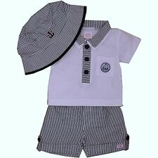 Baby Boys 3 Piece Cotton Outfit/Set Polo Shirt Shorts & Sun Hat 6-9 Month