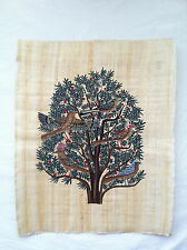"Egyptian Papyrus - Birds in Acacia - Beautifully Hand Painted - H17"" x W14"""