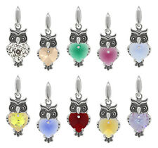 Sterling Silver Owl Pendant Made with SWAROVSKI 6228 Heart Crystals* More Colors