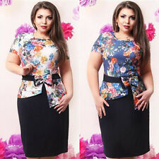 Womens Piece Suit Floral OL Bodycon Dress Skirts + Slim Short Sleeve Blouse Tops