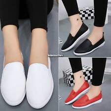 Womens Korean Style Rivet Trainers Sneaker Round Toe Flats Slip On Casual Shoes