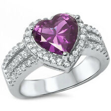 Sterling Silver CZ Women's Amethyst Halo Heart Promise Engagement Ring Size 5-10