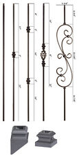 HOLLOW - Satin Black - Modern Series Iron Balusters - Wrought Iron - Stair Parts