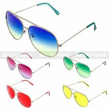 Women Color Lens Aviator Shape Glasses Outdoor Large Shades Sunglasses UV Unisex