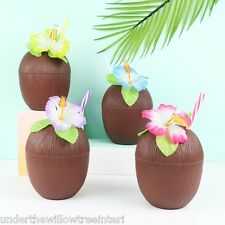 Coconut Drinking Cup with Straw BBQ Tropical Beach Party Picnic Hawaiian Flower