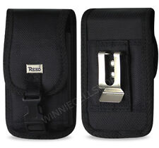REIKO Canvas Vertical Metal Belt Clip Case Pouch with Buckle for Doro Cell Phone