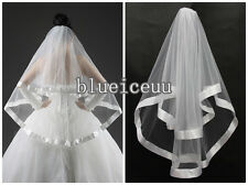 NEW 2T edge ribbon birdal veil wedding veil with comb white /ivory