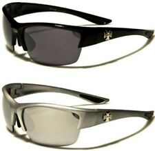 NEW BLACK SUNGLASSES CHOPPERS LARGE WRAP BIG UV400 MENS LADIES BIKER RIMLESS