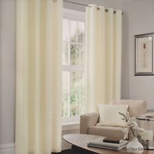 Cream Ready Made Fully Lined Pair of Faux Silk Ring Top Eyelet Curtains With Tie