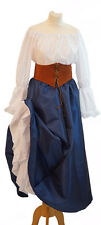 Victorian-Pirate-Les Miserables Blue Taffetta SKIRT,BLOUSE,LEATHER LACE UP BELT