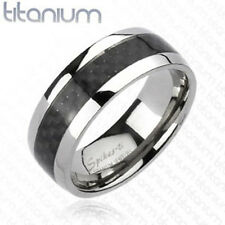Titanium Men's 8MM Black Carbon Fiber Inlay Comfort Fit Wedding Band Ring 9-13