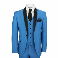 Mens 3 Piece Suit in Blue Velvet Shawl Lapels Vintage Tailored Fit Wedding Prom