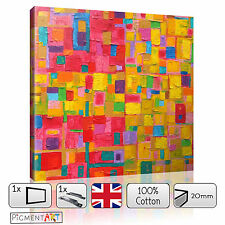 COLOURFUL ABSTRACT MODERN MULTI COLOURED - CANVAS WALL ART FRAMED PRINT PICTURES