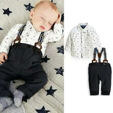 3M-2Y Kid Baby Boy Toddler 2PCS T-shirt Top+Bib Pants Overall Set Outfit Costume