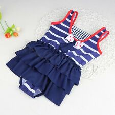 Baby Girl Striped One piece Swimsuit Swimwear Summer Bathing Suit Size 1-10 NWT
