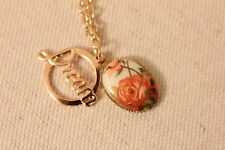 Handmade Pendant Necklace- Rose Gold Dream Charm and Vintage Flowers Necklace