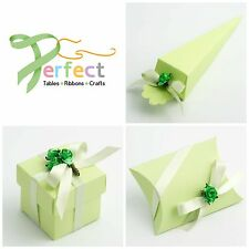 Luxury DIY Wedding Party Favour Gift Boxes - Pale Pastel Light Green Silk Range