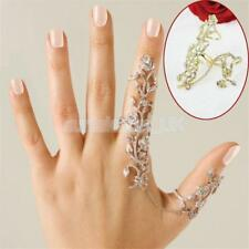 Punk Rock Rhinestone Silver/Gold Plated Chain Link Knuckle Two Finger Ring