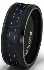 Mens Wedding Band 8mm Black Tungsten Ring Blue Carbon Fiber Beveled Comfort Fit