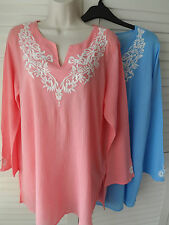 NEW WOMANS LADIES LIGHTWEIGHT CASUAL 100%COTTON SUMMER TOP BLOUSE WITH PLUS SIZE
