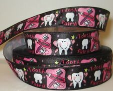 """GROSGRAIN TOOTH FAIRY 7/8"""" INCH RIBBON 1, 3, OR 5 YARDS**SHIPS FREE**"""