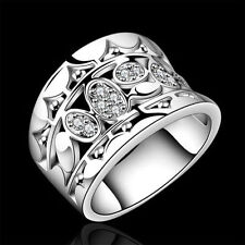 Silver Plated Ring Rings Retor Size 7 8 Womens Finger Gift New Jewelry