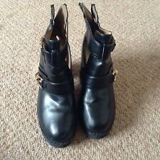 Ladies Black Heeled River Island Ankle Boots Size 3 36