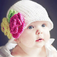 Infant Toddler Girl Handmade Knit Crochet Flowers Hat Cap for 4-24 Months Baby