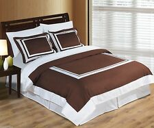 Brown and White Cotton Hotel Duvet Cover Bedding Set ALL SIZES