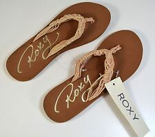 NWT WOMEN'S ROXY GUINEA PINK BRAIDED THONG FLIP FLOP SANDALS SIZE 7