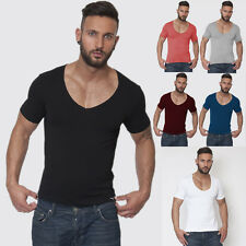 New Fashion Sexy Men Tight Deep V Neck T Shirts Tee Silm Fit Shirts Tops Clothes