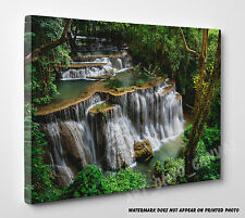 Waterfall Kanchanaburi Forest Thailand Photo Canvas Print Wall Art LARGE PICTURE