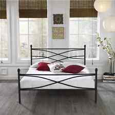 Helena Black Decorative Modern Sturdy Headboard Metal Platform Slat Bed New