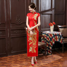 New Chinese women's embroidery silk/satin evening dress long red Cheongsam S-XXL