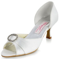 MM-009 White Women Bridal Party Peep Toe Rhinestones Pleated Satin Wedding Shoes