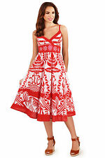Red White & Pink Art Deco Print Summer Strappy Beach Sundress Dress