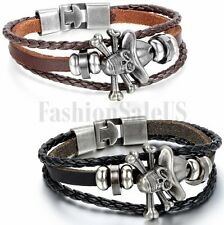 Vintage Women's Men's Wristband Metal Studded Skull Surfer Leather Bracelet Cuff