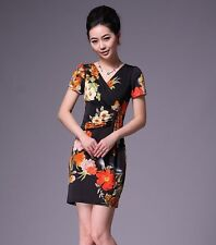 Womens Stretch Bodycon Wrap Dress Sweet Floral Evening Party Dresses