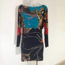 SALE FRENCH CONNECTION FCUK Boat Neck Batwing Retro Print Long Sleeve Dress 8