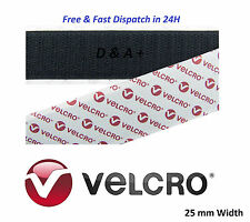 Genuine VELCRO® Brand 25mm Width Self Adhesive Sticky 1m Back Hook & Loop Tape