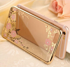 Luxury Shockproof Diamond Flower Plating Rubber TPU Soft Case Cover For Phone