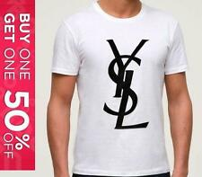 YSL YVES SAINT LAURENT PERFECT MENS T-SHIRT WHITE / BLACK TOP LOGO