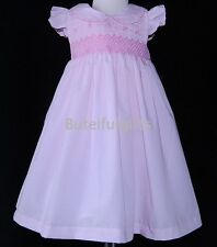 Girls Baby Pink Traditional Smocked Summer Dress 9-12 12-18 18-24 Month