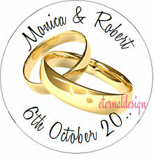 Personalised Wedding Day Circle Stickers Seals High Gloss Wedding Rings Designs