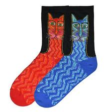 K Bell Cat Socks Laurel Burch Zig Zag Crew RED or BLUE  9-11 shoe size 5-10