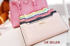 PL Women's lady Soft Leather Bowknot Clutch Wallet Long Card Purse Handbag uk