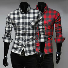 Hot Luxury Mens Stylish Plaids Casual Shirts Slim Fit Long Sleeve Formal Shirt r