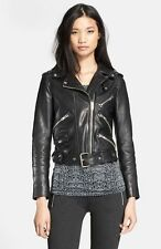 Jacket Leather Motorcycle S New Biker Black Coat Lambskin Womens Jackets WJ126