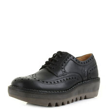 Womens Fly London Jane Smooth Black Leather Brogue Wedge Smart Shoes UK Size