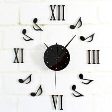 Musical Note Wall Clock DIY Home Decor Watch Time Modern Designs